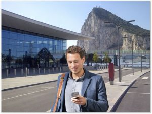 visitor with app in Gibraltar